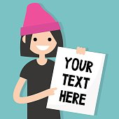 Your text here. Young brunette girl holding a sheet of paper / editable flat vector illustration, clip art.