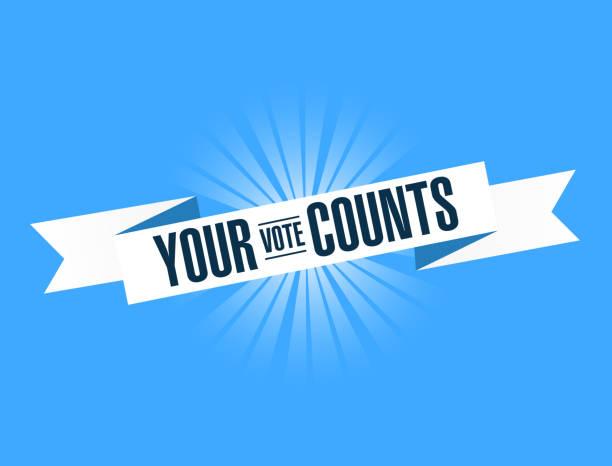 stockillustraties, clipart, cartoons en iconen met uw stem telt, blauw lint illustratie design afbeelding. - vote
