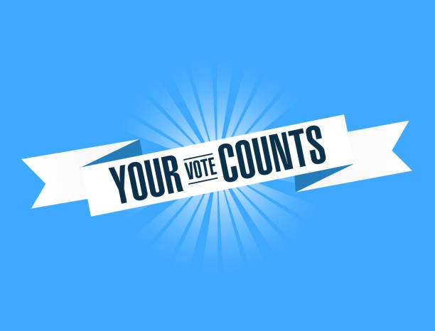 your vote counts, blue ribbon illustration design graphic. - vote stock illustrations