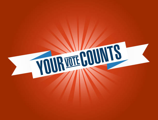 Your vote counts bright ribbon message Your vote counts bright ribbon message  isolated over a red background counting stock illustrations
