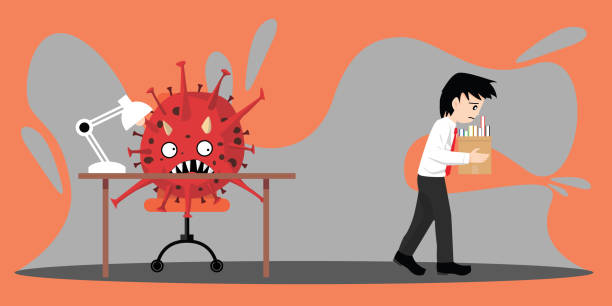 you're fired during covid-19 or coronavirus. the sad man get fired, corona virus turn into unemployment, labor problems. economics crisis in the time of covid 19 virus outbreak. workers were laid off - unemployment stock illustrations
