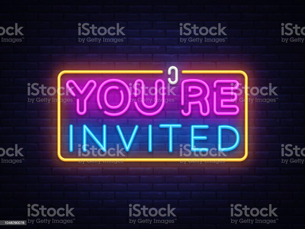youre invited neon text vector design template neon logo light