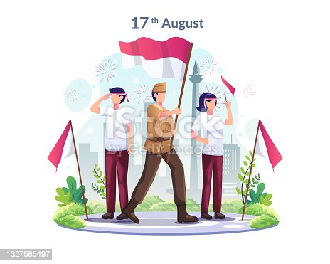 istock Youth and heroes celebrate Indonesia's Independence Day on August 17th. vector illustration 1327585497