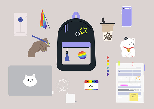 LGBTQ youth, Back to school set, a backpack with pins, a laptop with charger, boba tea to go, lucky cat, a mobile phone