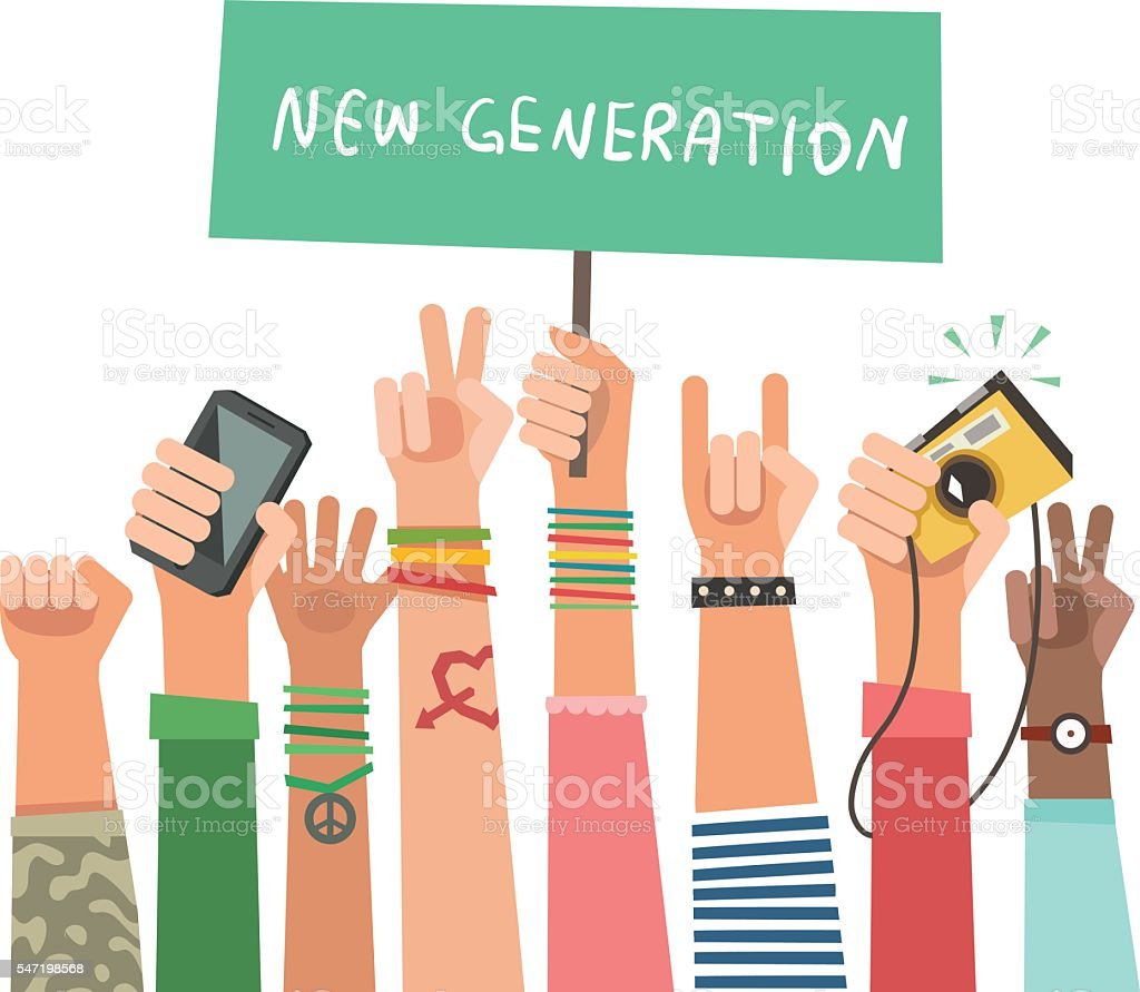 Youth crowd with banner. Manifesting new generation crowd vector art illustration
