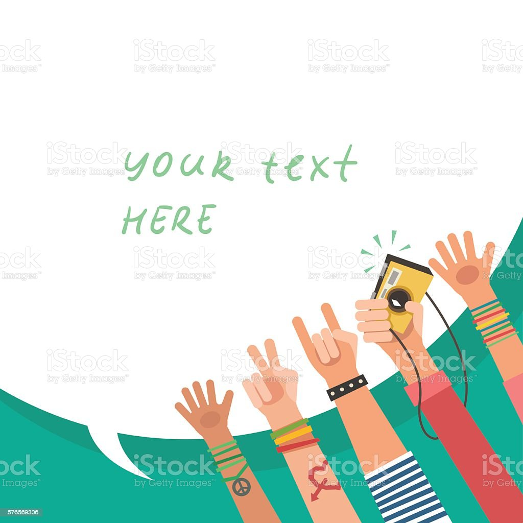 Youth crowd with bubble for text. Manifesting new generation crowd. vector art illustration