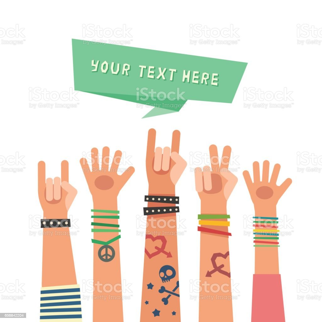 Youth crowd with ribbon for a text. Millennial concept.
