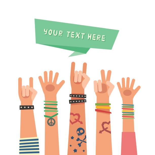 Youth crowd with ribbon for a text. Millennial concept. vector art illustration