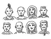 Youth Culture Punk People Portrait Set Drawing
