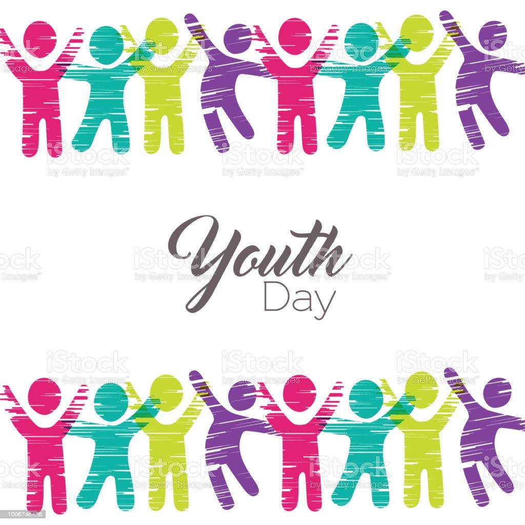 Ungdomskort Dag Av Olika Personer I Färgstarka Konst Vektorgrafik