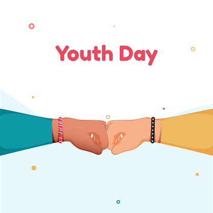 Youth Day Text with Fist Bump on White Background.