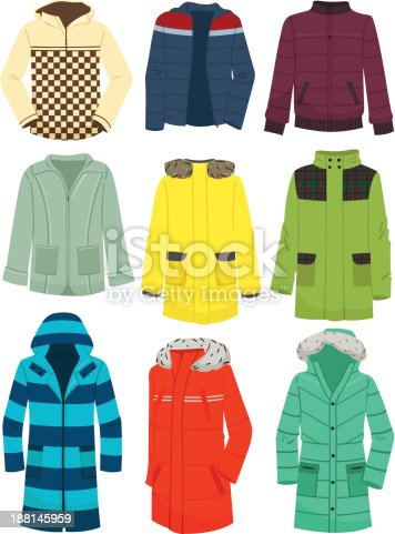 A set of men's jackets isolated on white background