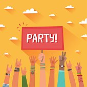 Youth party concept. A lot of hands of young people
