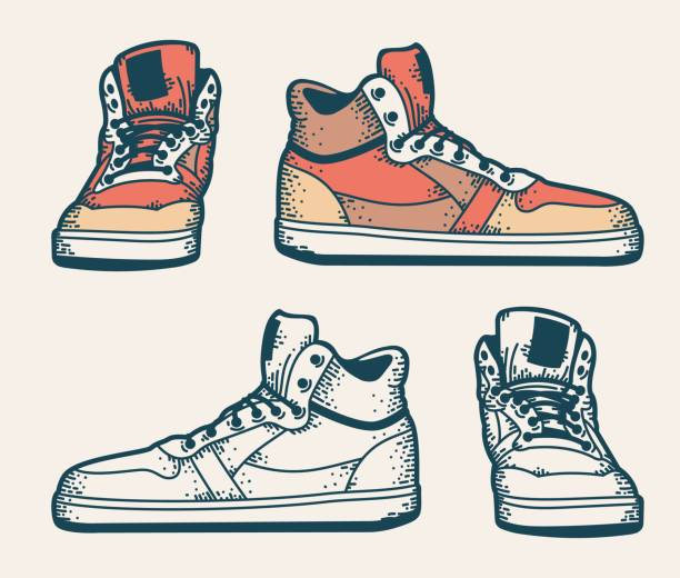 Bекторная иллюстрация Youth sneakers in a hipster style