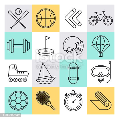 Youth sports training and competition outline style concept with symbols. Line vector icon sets for infographics and web designs.