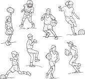 This vector illustration includes 8 drawings of young boys and girls playing sports. Line art (black and white) sketches include a cheerleader, football player, basketball players, soccer players, a baseball player and a softball player. All of the athletes appear to be children or young teenagers.