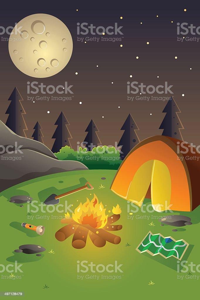 Youth summer camp poster vector art illustration