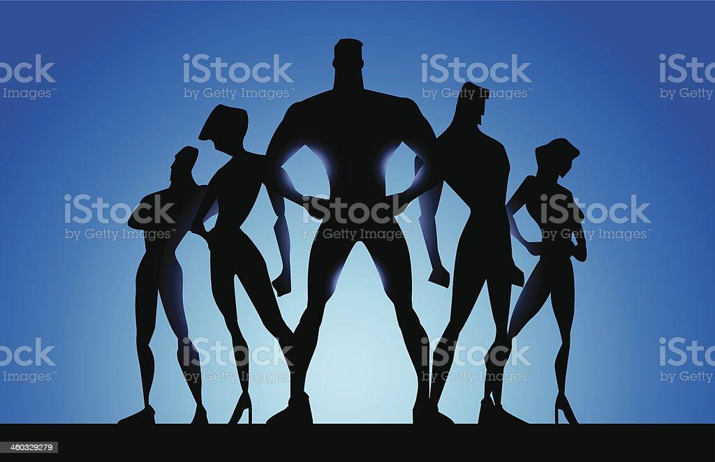 Youth Superhero Team Poster vector art illustration