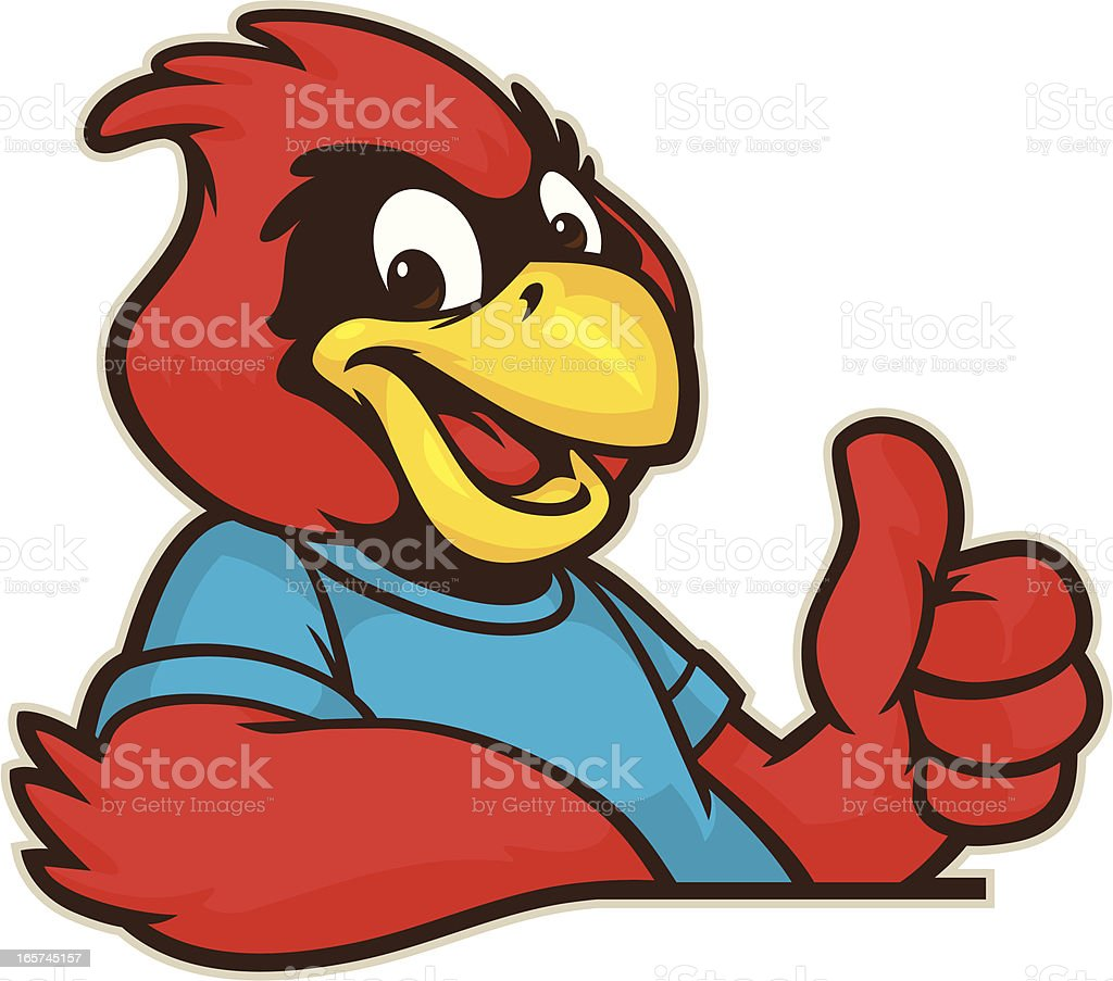 Youthful Cardinal Mascot royalty-free stock vector art