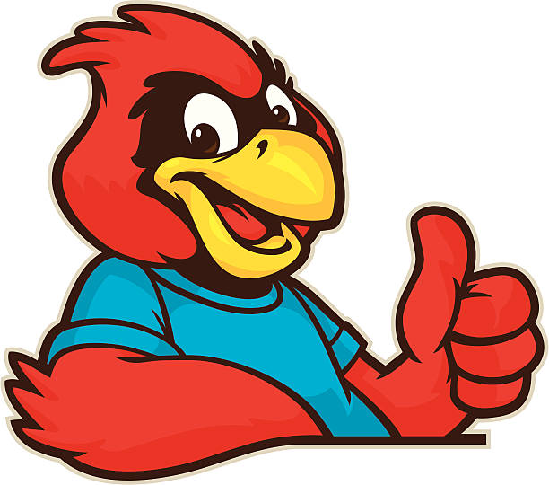 youthful cardinal mascot - cardinal mascot stock illustrations, clip art, cartoons, & icons