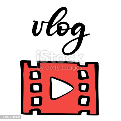 Vector illustration of lettering icons set for youtube channel. Template with elements for social media web mobile apps stickers. Video blogging content. Subscribe, follow, comment, notification, like buttons. EPS10