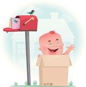 vector illustration of baby in carton…