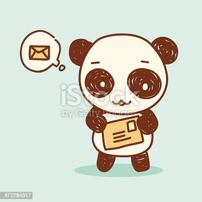 A cute panda delivering mail to you in scribbles style. Related illustrations: