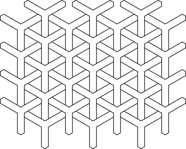 Y-Muster, Korb, nahtlose Muster schwarz / weiß – Vektorgrafik