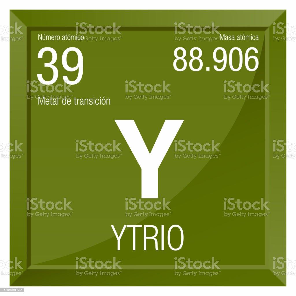Ytrio Symbol Yttrium In Spanish Language Element Number 39 Of The