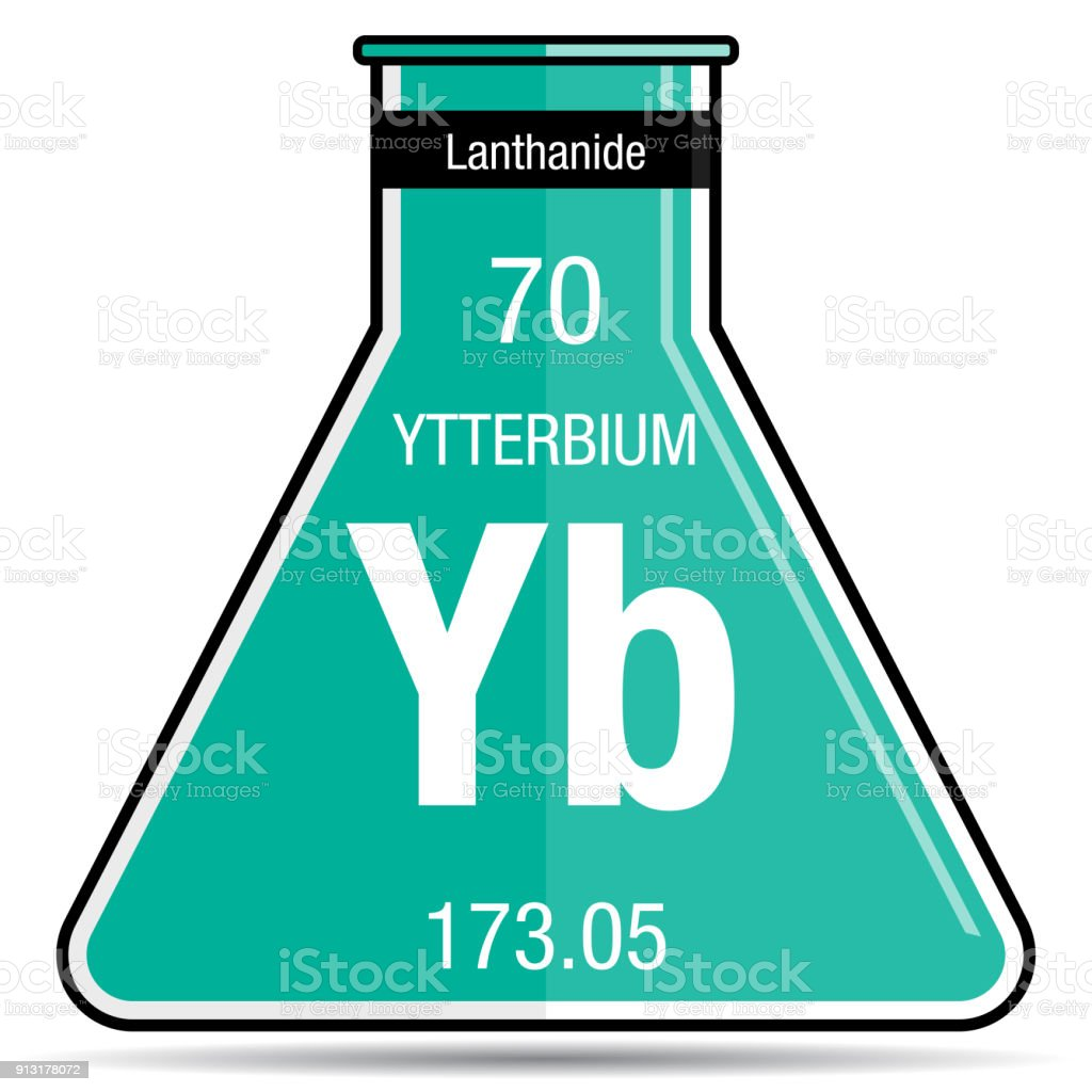 Ytterbium Symbol On Chemical Flask Element Number 70 Of The Periodic