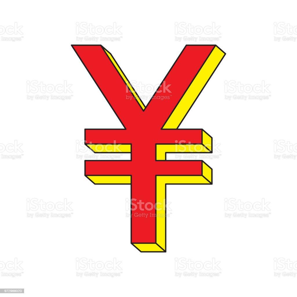 Yuan (renminbi, rmb, yen) icon. vector art illustration