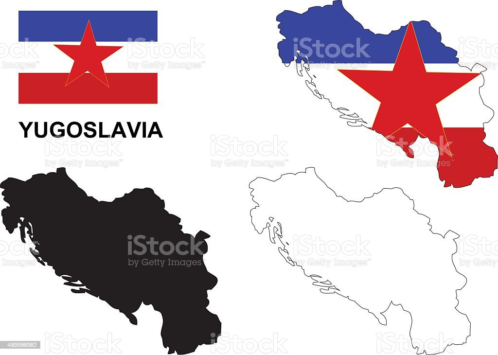 Jugoslawien Karte.Jugoslawien Karte Vektor Jugoslawien Flagge Vektor Jugoslawien