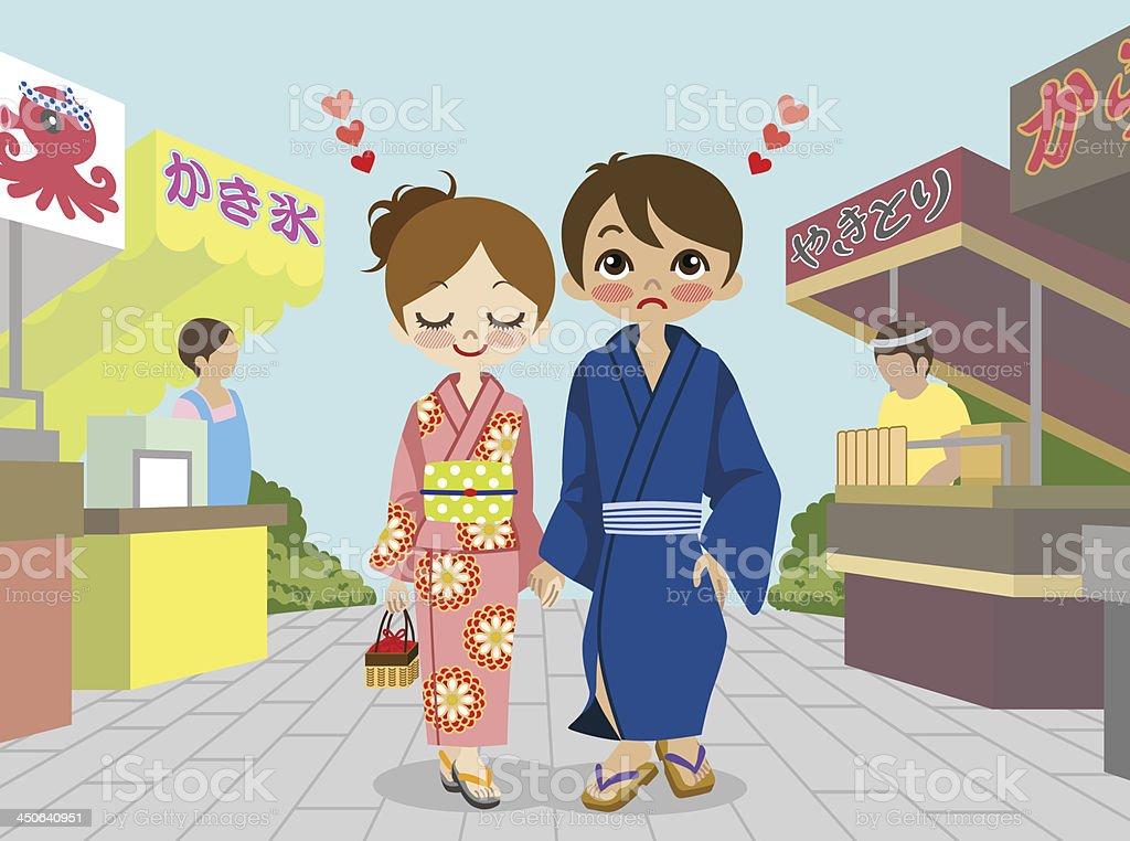 Yukata couple in Japanese  summer festival vector art illustration