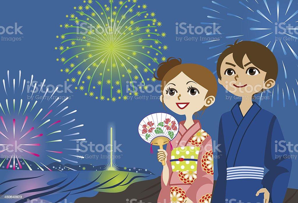 Yukata couple Looking up fireworks vector art illustration