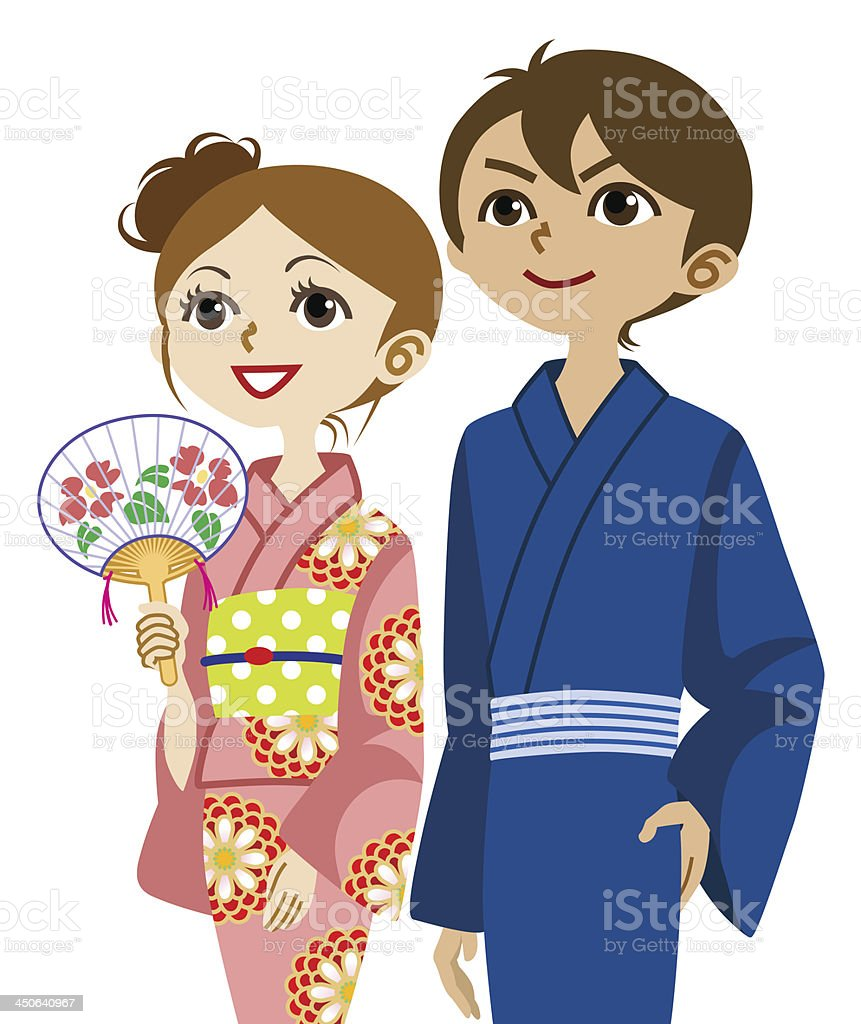 Yukata couple, Looking up royalty-free yukata couple looking up stock vector art & more images of adult