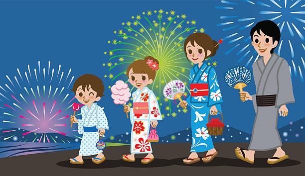 浴衣家族の花火大会 - 母娘 笑顔 日本人点のイラスト素材/クリップアート素材/マンガ素材/アイコン素材
