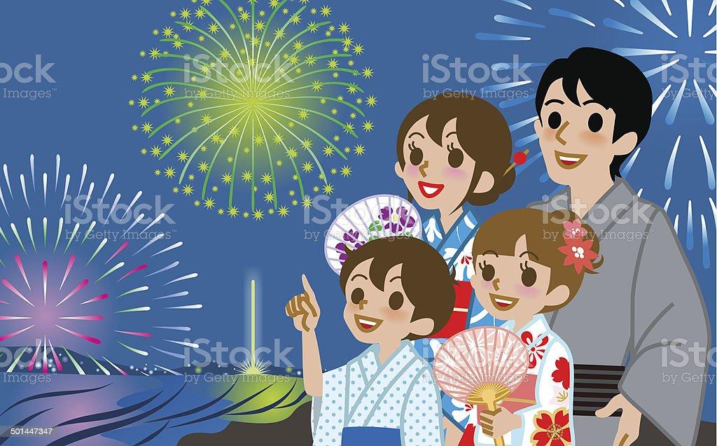 Yukata Family looking up Fireworks vector art illustration