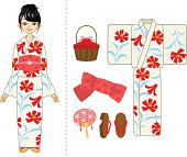 Yukata woman and Item set