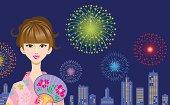 Vector illustration of Yukata Women and fireworks.