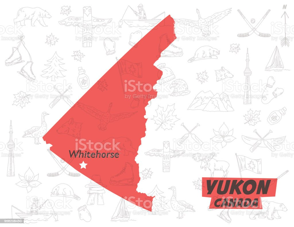 Yukon Canada Over A Pattern Of canadian Themed Doodle Drawings vector art illustration