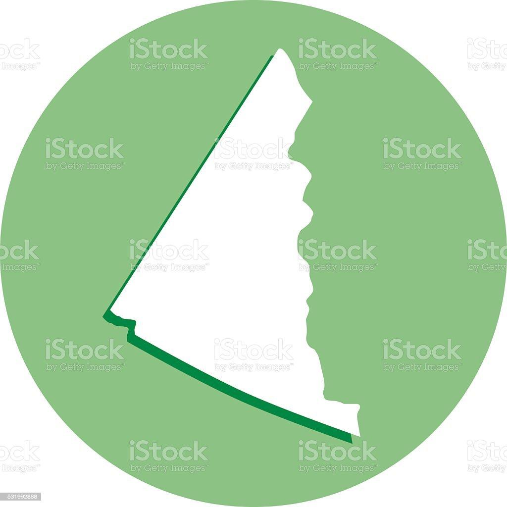 Yukon Round Map Icon vector art illustration
