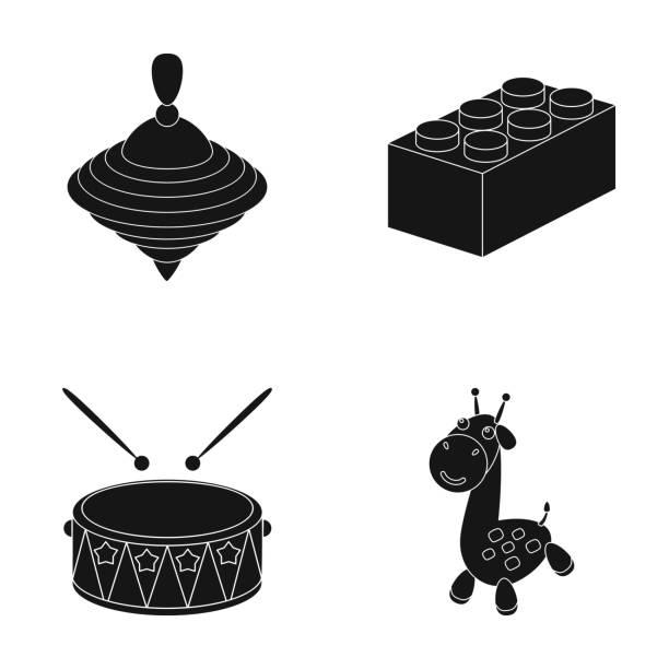 stockillustraties, clipart, cartoons en iconen met yula, lego, trommel, giraf. speelgoed collectie iconen in zwarte stijl vector symbool stock illustratie web instellen - lego