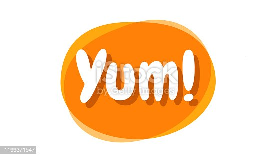 istock Yum text in the speech bubble. Yummy concept design doodle for print. 1199371547