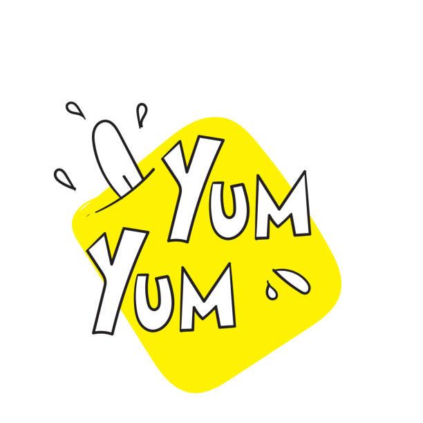 ilustraciones, imágenes clip art, dibujos animados e iconos de stock de yum yum texto diseño doodle para impresión. ilustración vectorial.con estilo de caligrafía dibujado a mano de dibujo de dibujos animados. aislado en blanco - tipos de letra de burbujas