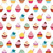Yummy cupcakes vector seamless pattern