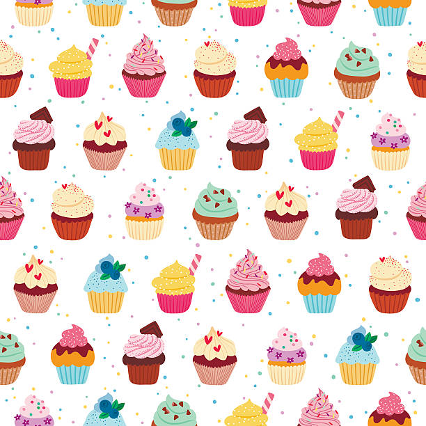 ilustraciones, imágenes clip art, dibujos animados e iconos de stock de buena pastelitos (cupcakes) patrón continuo - magdalena dulces