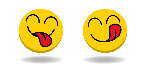 stockillustraties, clipart, cartoons en iconen met yummy emoji icoon. grappig glimlachend gezicht met mond en tong gourmet genieten van smaak en hongerig. heerlijk, gelukkig geel karakter geïsoleerd cartoons symbool-vector - eetklaar