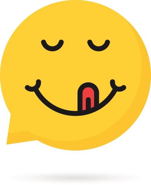 stockillustraties, clipart, cartoons en iconen met lekker emoji tekstballon - eetklaar