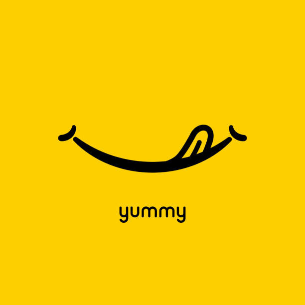 illustrazioni stock, clip art, cartoni animati e icone di tendenza di yummy face smile delicious icon . yummy tongue emoji tasty or hungry mouth smile - assaggiare