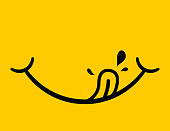 istock Yummy icon. Logo of delicious eat. Face smile after tasty food. Emoji of happy mouth with tongue. Emoticon of hungry foodie. Pleasure from enjoy of yum. Drool from flavor. Yellow fun symbol. Vector. 1239476413